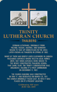 Trinity Lutheran Church Thalberg Sign