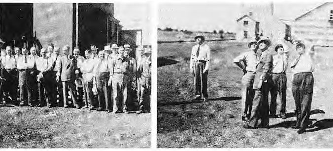 Dieclo B and senior staff of Searle Grain Co. visiting the farm in 1943 A group of visitors at the Grain Elevator